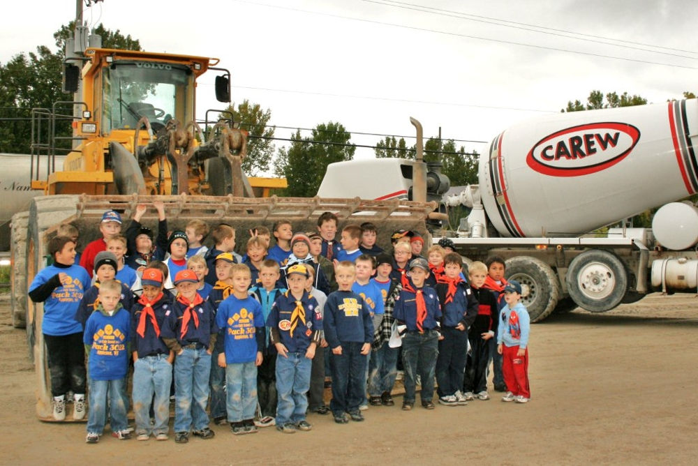 Photo of Cub Scouts at our plant by a cement mixer truck.