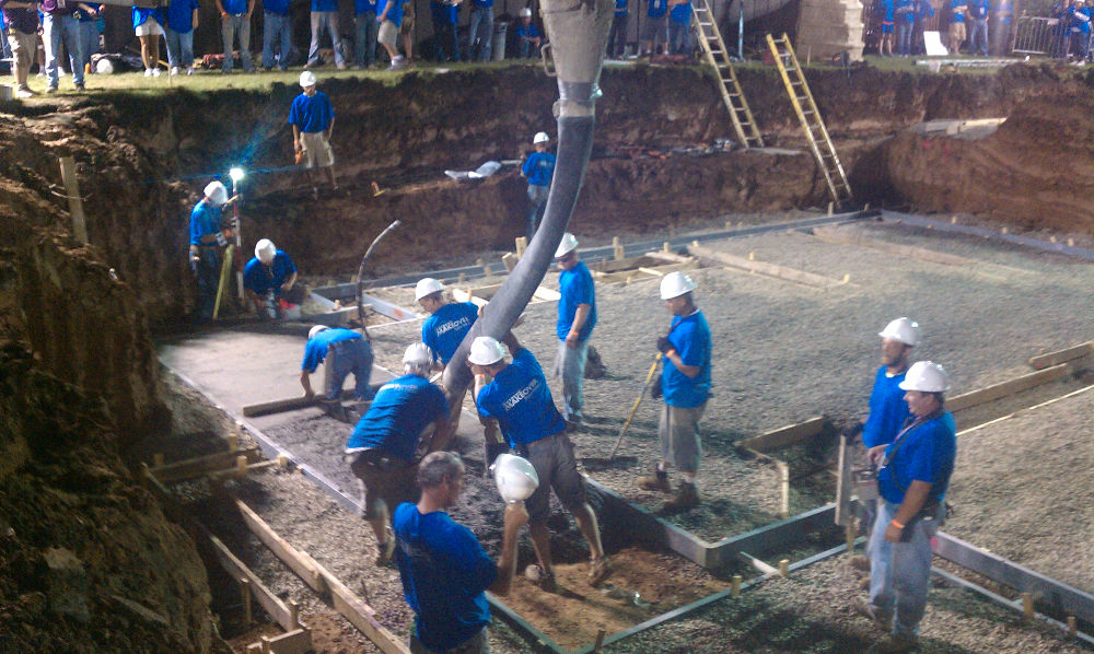 Photo of Carew Concrete and their team working at the Extreme Makeover: Home Edition site in Wisconsin
