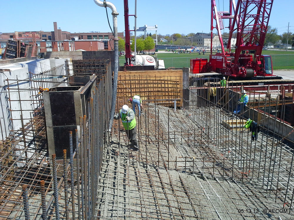 Photo of Worker installing rebar